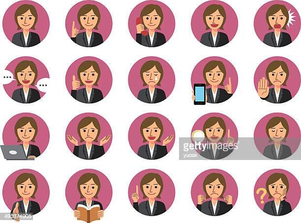 illustrazioni stock, clip art, cartoni animati e icone di tendenza di donna d'affari di icone - maestra