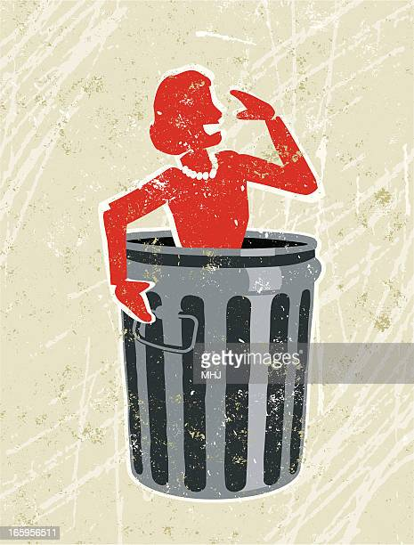 business woman in a rubbish bin - downsizing unemployment stock illustrations, clip art, cartoons, & icons