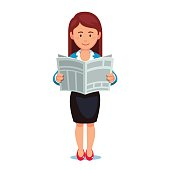 Business woman in formal dress reading news paper