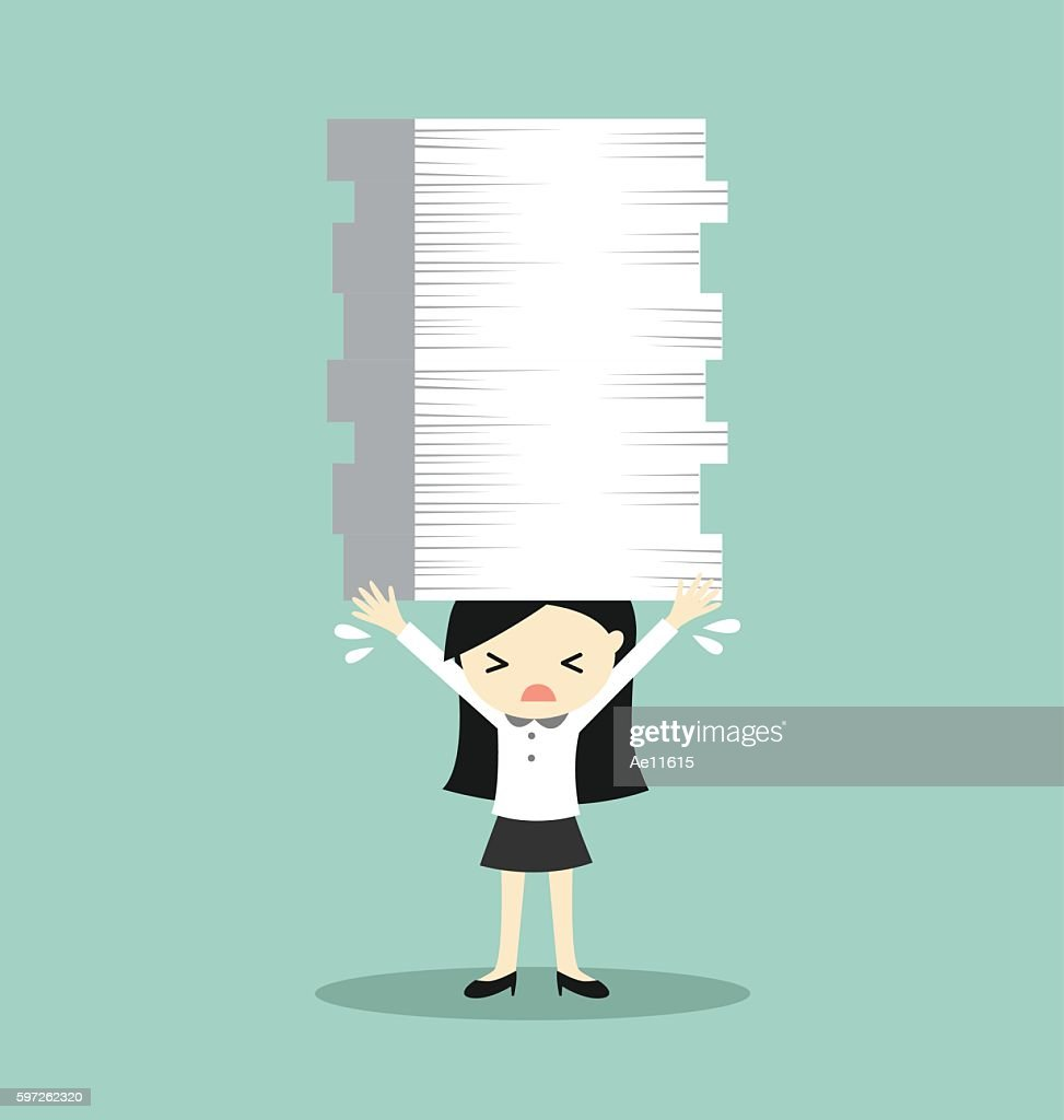 Business woman is holding a lot of papers.