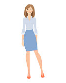Business woman isolated. Business pose and gesture. Businesswoman vector illustration