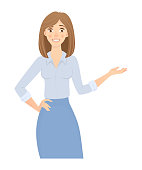 Business woman isolated. Business pose and gesture. Young businesswoman vector illustration. Point hand