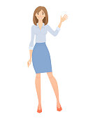 Business woman isolated. Elegant businesswoman in formal clothes vector illustration