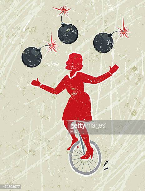 business woman juggling lit bombs whilst riding a unicycle - juggling stock illustrations, clip art, cartoons, & icons