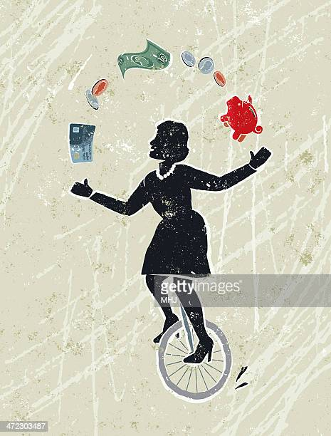 Business Woman Juggling Money Icons Whilst Riding a Unicycle
