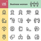Business woman Line icons