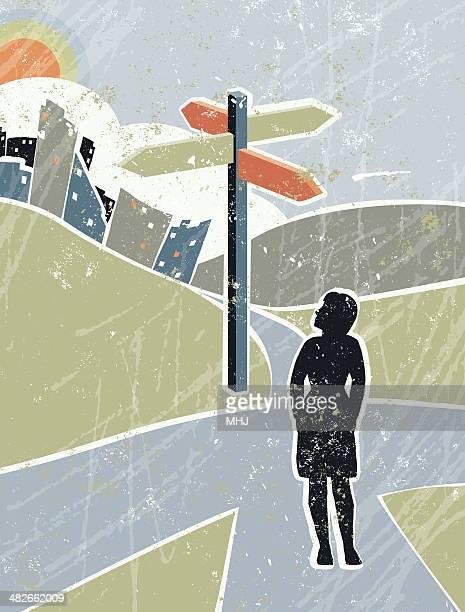 ilustrações, clipart, desenhos animados e ícones de mulher de negócios olhando em sinal de estrada em campo, o crossroads - encruzilhada