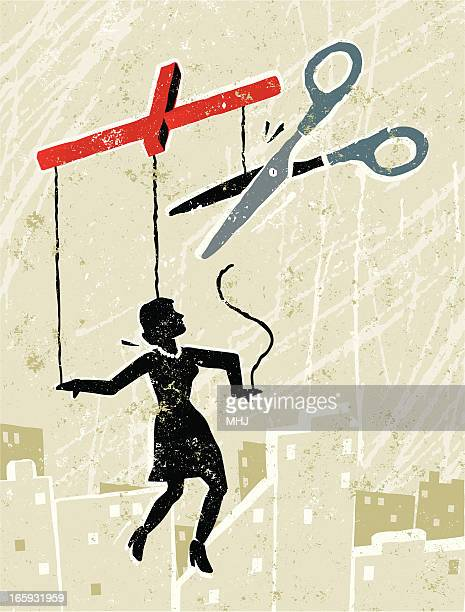 Business Woman Marionette Being Set Free with Scissors