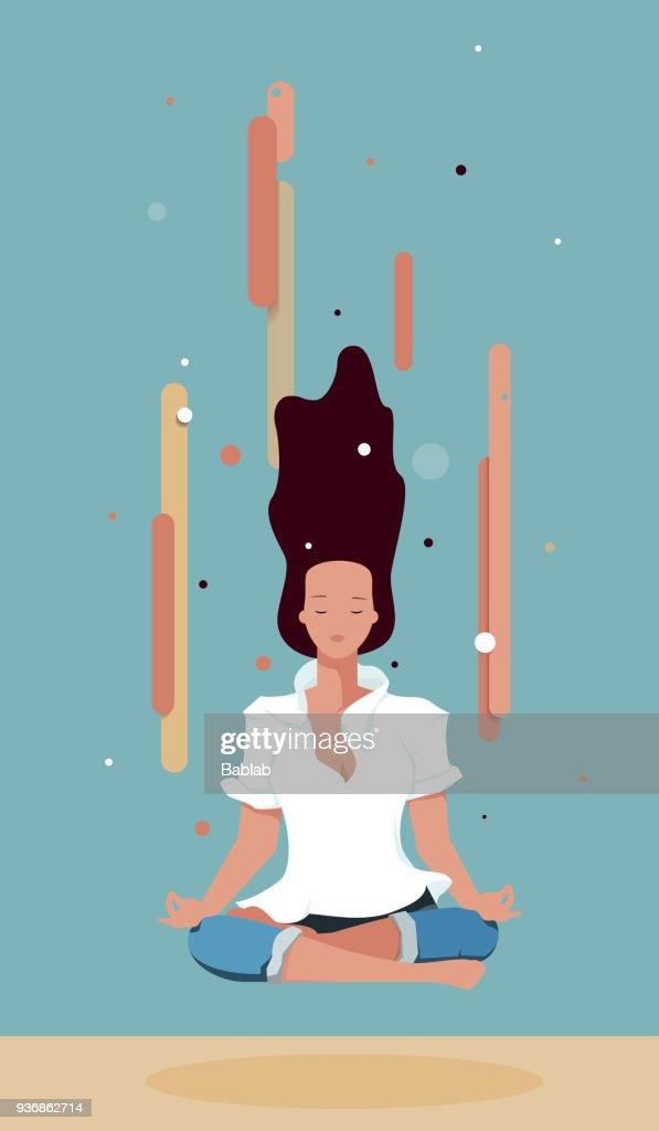 Business woman meditating in lotus pose