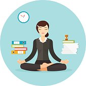Business woman meditating. Vector flat illustration isolated