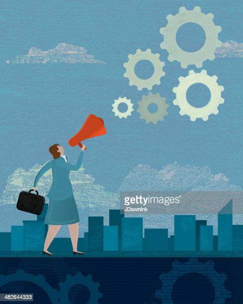 business woman megaphone announcement concept - editorial stock illustrations