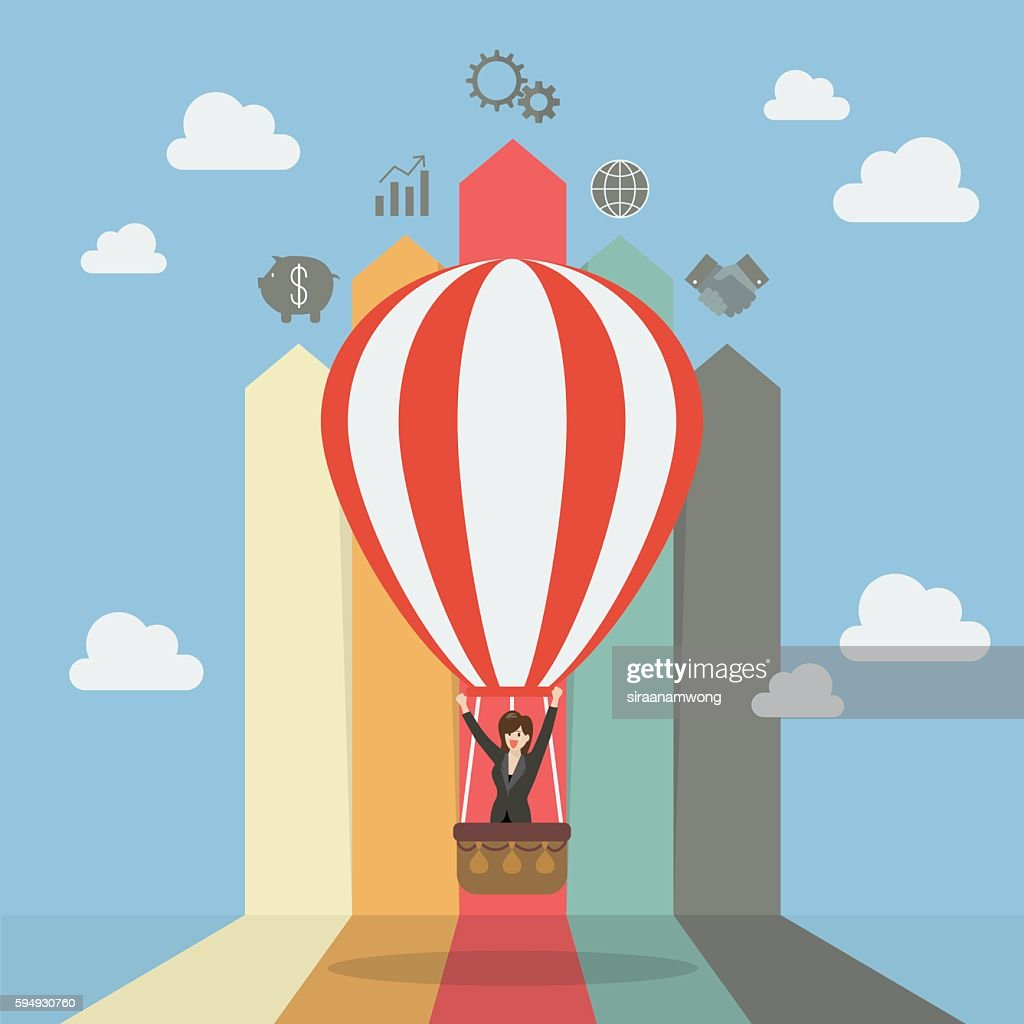 Business woman on hot air balloon with arrow bar chart