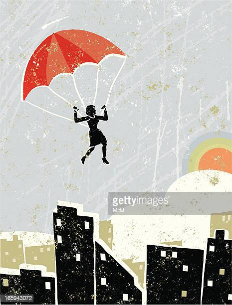 Business Woman On Parachute Flying Free Over a Cityscape