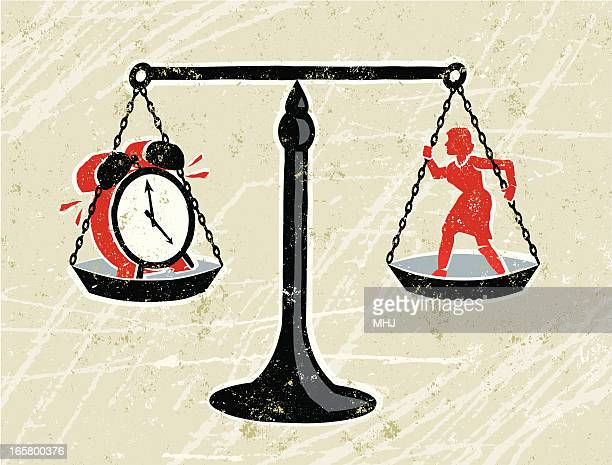 Business Woman on Scales with a Clock