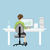 Business Woman or office worker  working on computer