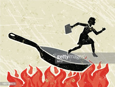 Business Woman Out Of A Frying Pan Into The Fire Vector
