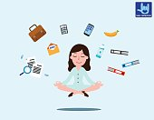 Business woman sitting in padmasana lotus pose with flying around documents, phone, flying around him Office worker multitasking & meditating, relaxing doing yoga. Vector flat illustration concept
