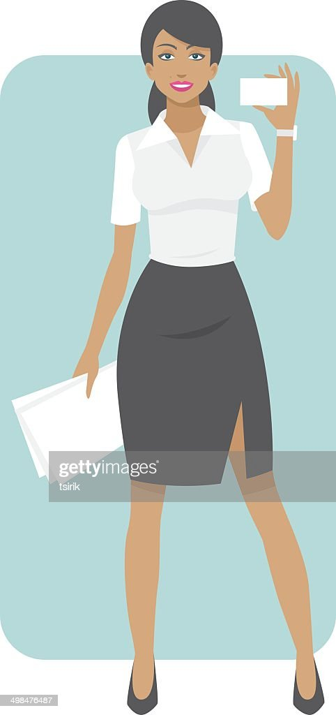 Business woman smiling and holds business card