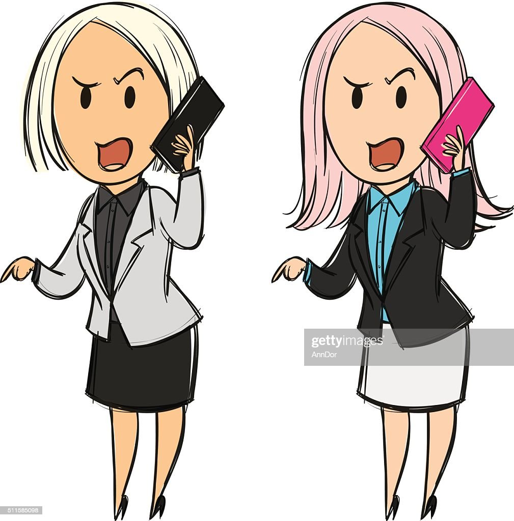 Business woman talking on the phone emotionally shouting in anger