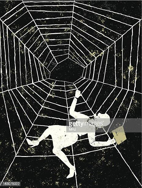 business woman trapped in a spider's web - silk screen stock illustrations, clip art, cartoons, & icons