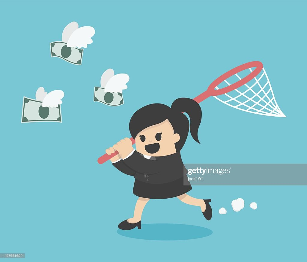 business woman trying to catch money