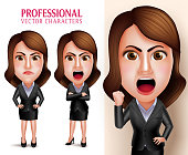 Business Woman Vector Character Angry and Mad Like a Boss