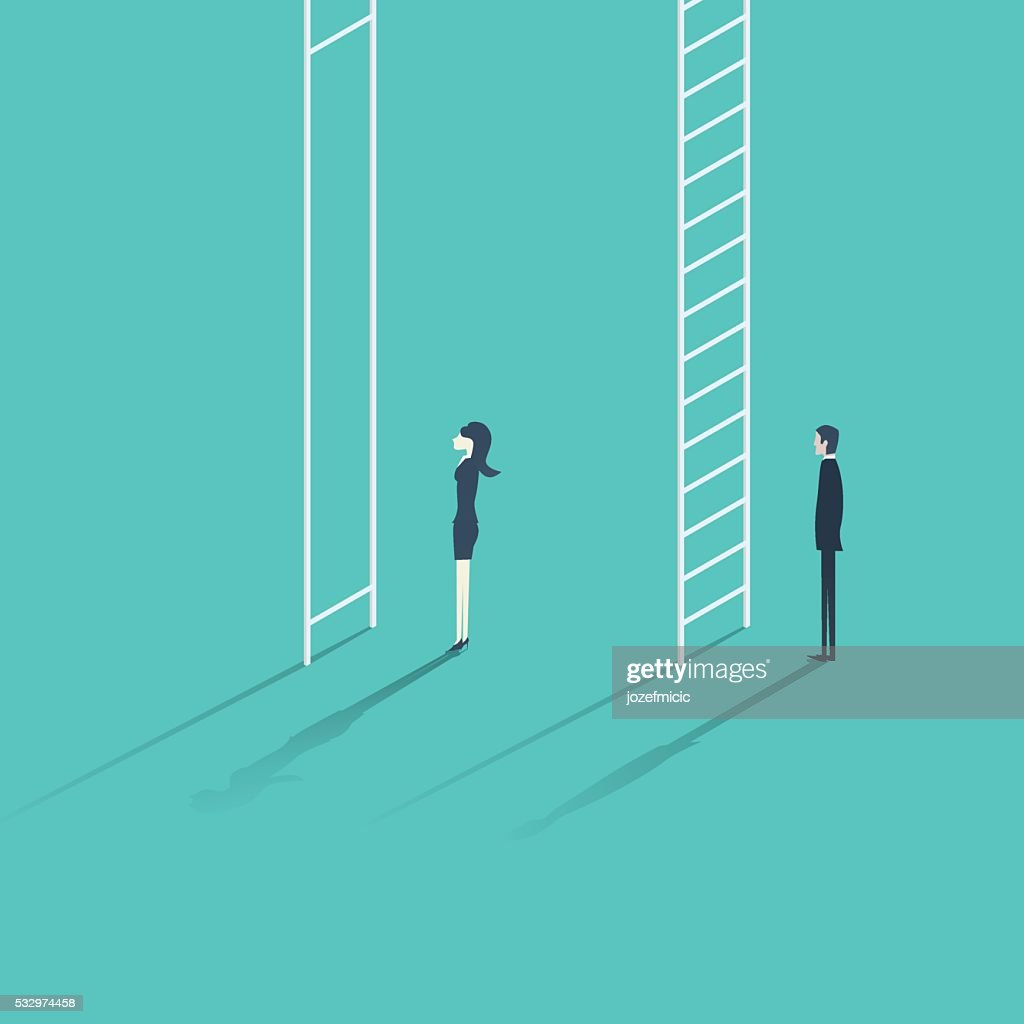 Business woman versus man corporate ladder career concept vector illustration