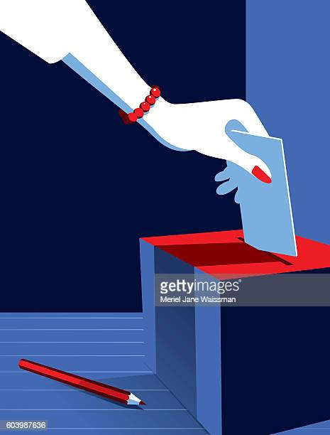 business woman voting at the ballot box - election voting stock illustrations