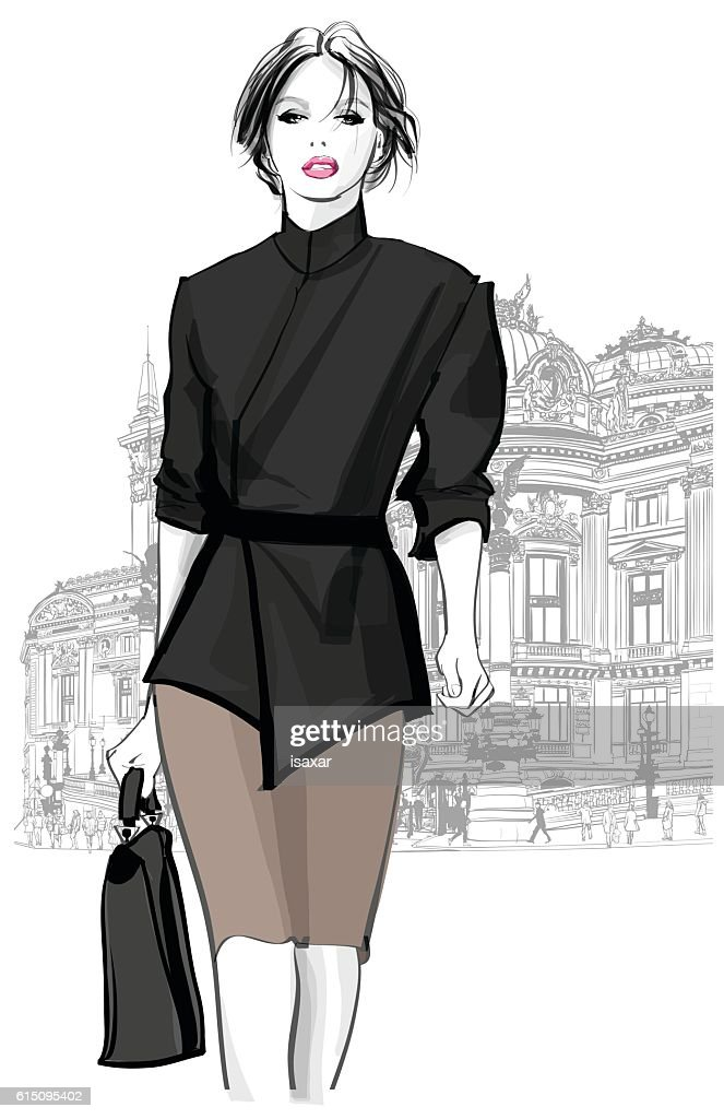 Business woman walking in front of Opera, Paris