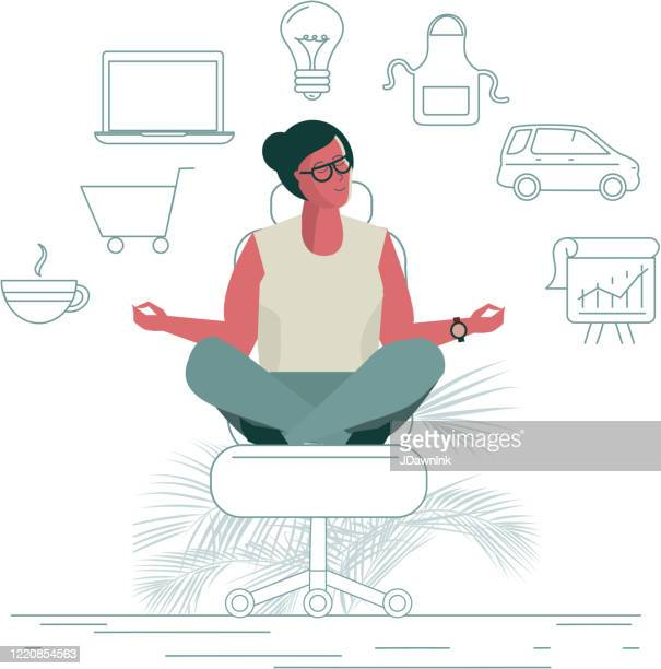 business woman work and life balance concept - jdawnink stock illustrations