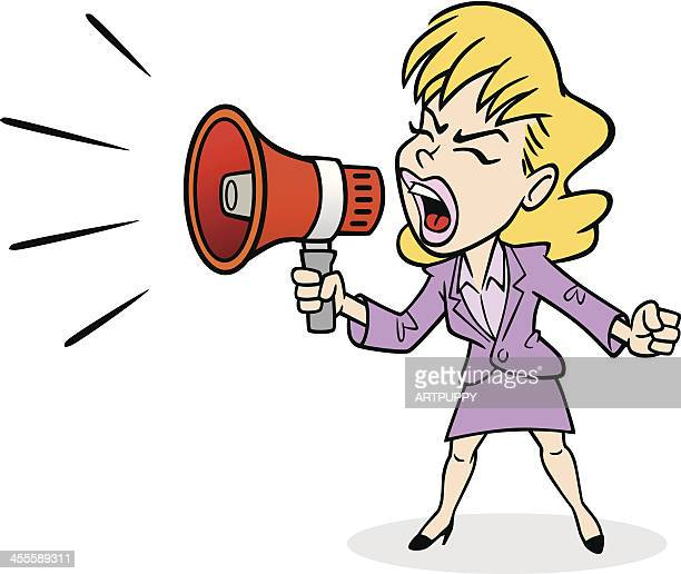business woman yelling - commentator stock illustrations