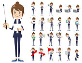Business women charactor set. Presenting in various action.