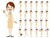 Business women charactor set. Various poses and emotions.