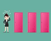 Business Women choosing a door- Vector illustration
