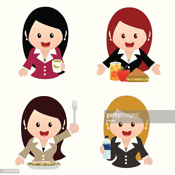 business women healthy eating icon set - lunch break stock illustrations, clip art, cartoons, & icons