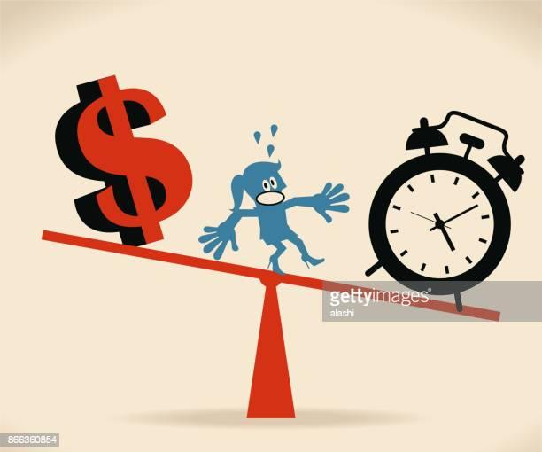 ilustrações, clipart, desenhos animados e ícones de mulheres de negócios na gangorra, desequilíbrio entre o relógio e o cifrão - tempo é dinheiro