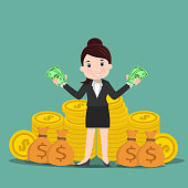 Business women with money , Rich businessman - vector illustration