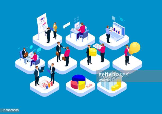 business workflow concept - partnership teamwork stock illustrations