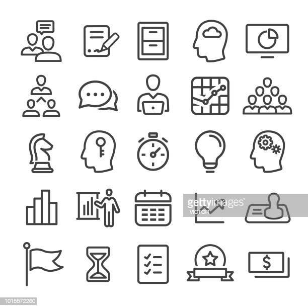 ilustrações, clipart, desenhos animados e ícones de negócio de fluxo de trabalho conjunto de ícones - linha inteligente série - assinatura
