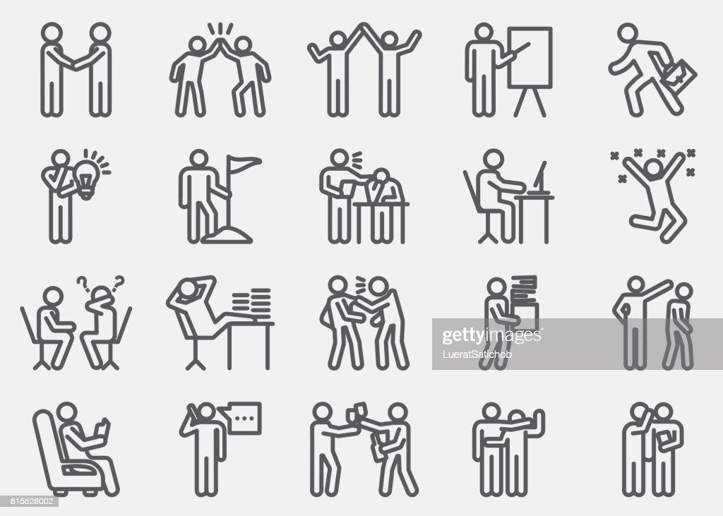 Negocio trabajando los iconos de línea de acción humana : Ilustración de stock