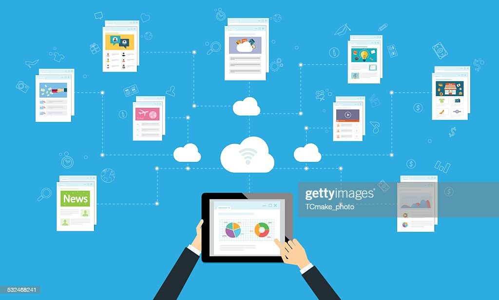 business working online and internet network on cloud