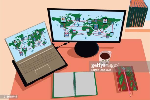 business workplace top view stock illustration - quarantine clip art stock illustrations