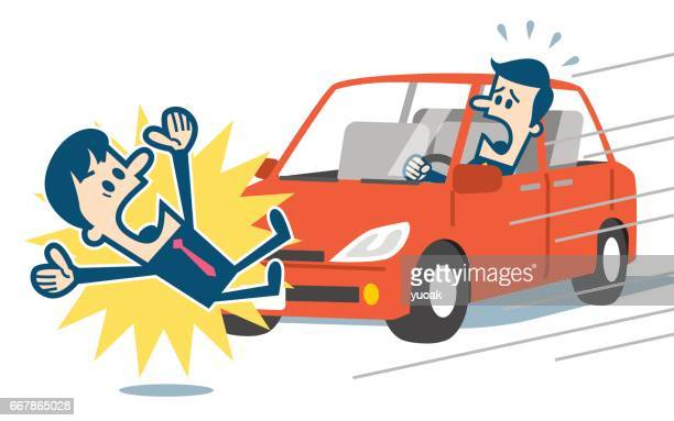 businessman about to be hit by a car - pedestrian stock illustrations, clip art, cartoons, & icons