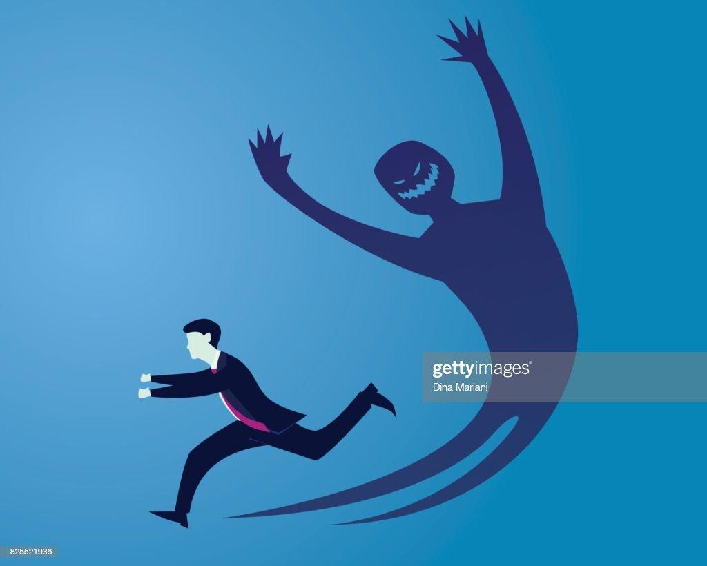 Businessman Afraid of His Own Shadow