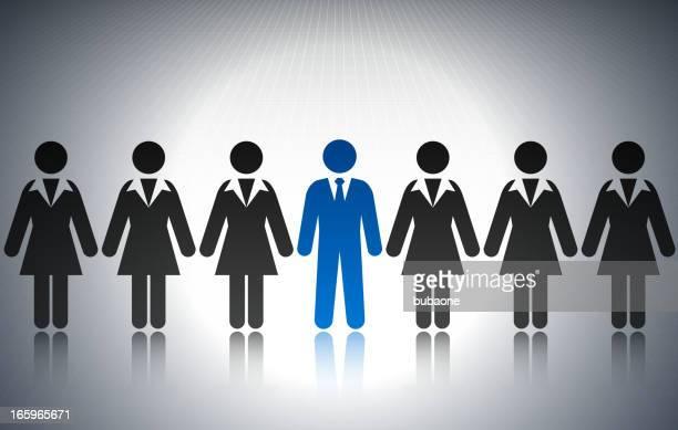 businessman among businesswomen concept stick figures - governor stock illustrations, clip art, cartoons, & icons