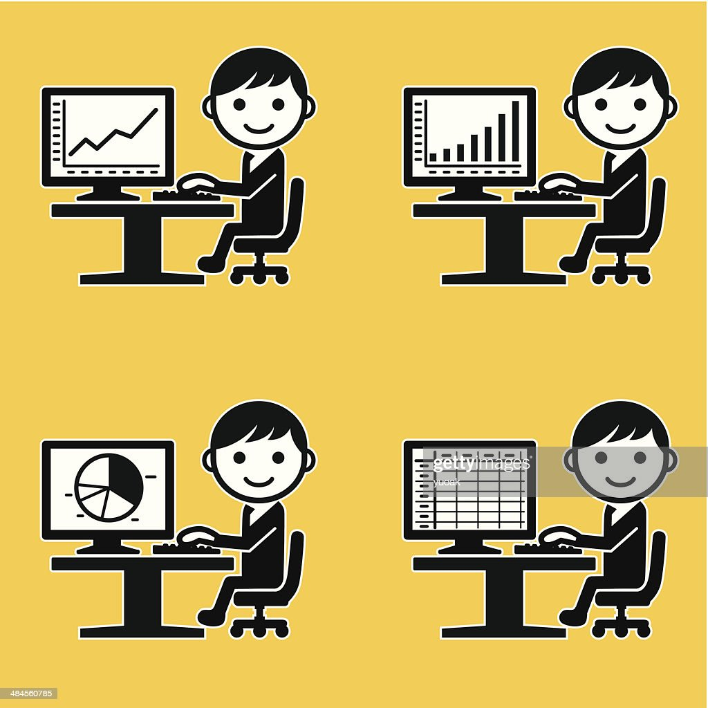 Businessman analysing graphs and charts : stock illustration