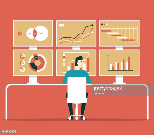 businessman analytics business graph and seo on web - analysing stock illustrations