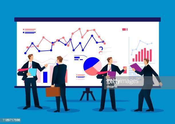 ダッシュボードのビジネス データ レポートを分析するビジネスマン - セミナー点のイラスト素材/クリップアート素材/マンガ素材/アイコン素材