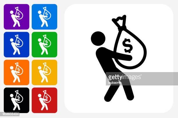 ilustraciones, imágenes clip art, dibujos animados e iconos de stock de hombre de negocios y dinero bolsos icono conjunto de botón cuadrado - bolsa de dinero