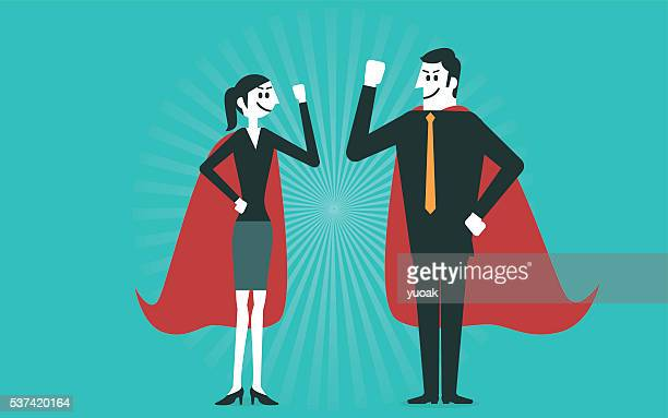 Businessman and business woman are superheroes